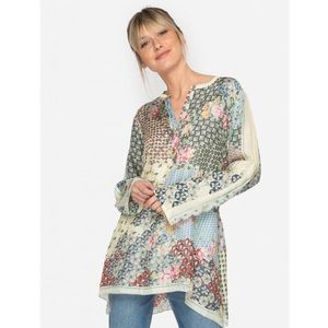 Johnny Was Pavo 3/4 Sleeve Mixed Print Tunic Top